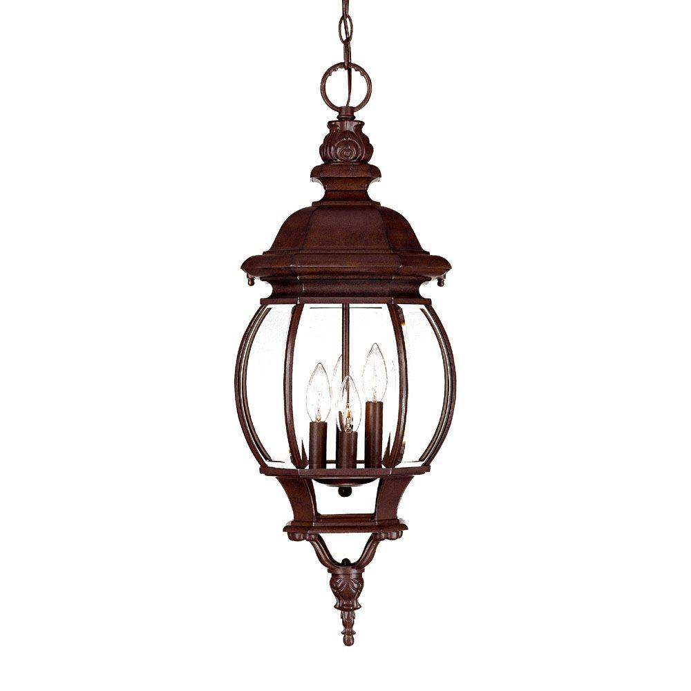 Acclaim Lighting Chateau Collection 4-Light Burled Walnut Outdoor Hanging Light Fixture