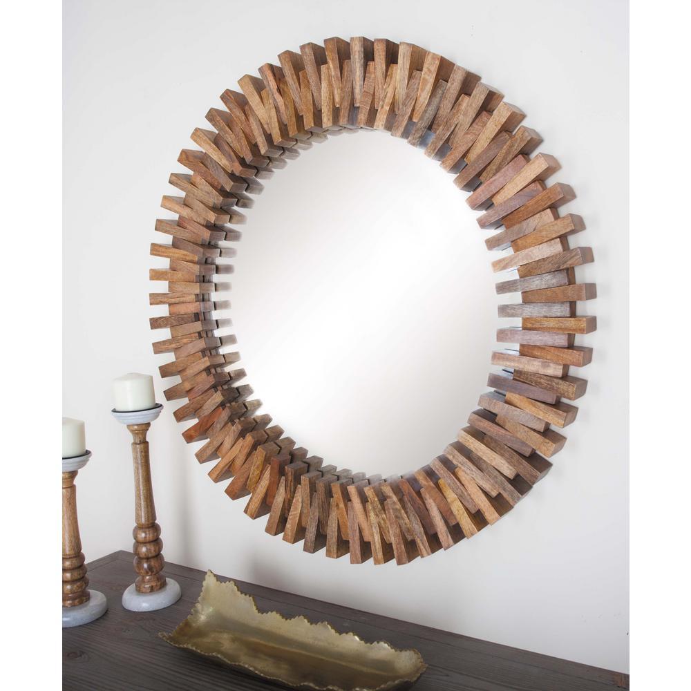 35 in. Sunburst Brown Framed Wall Mirror