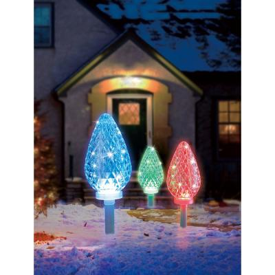 18.7 ft. Color Blast Remote Controlled C35 Pathway Markers RGB LED Lights (3-Pack)