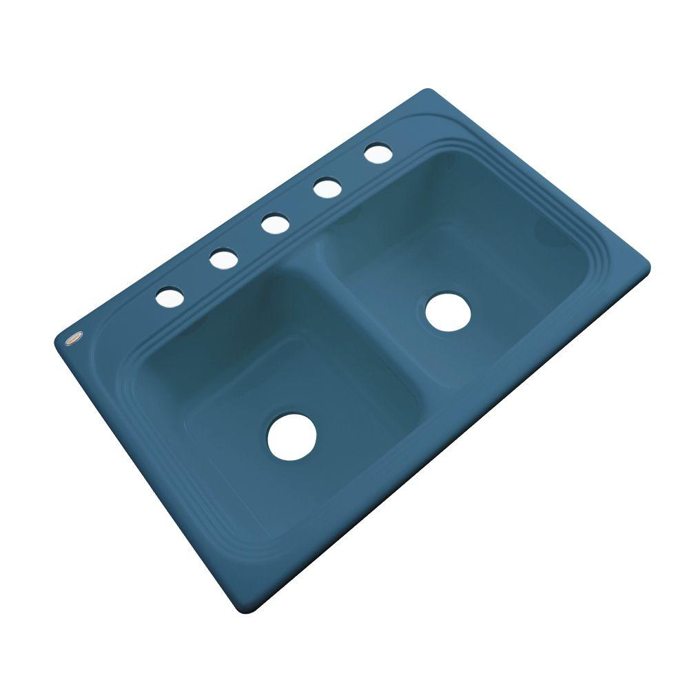 Thermocast Chesapeake Drop-In Acrylic 33 in. 5-Hole Double Basin Kitchen Sink in Rhapsody Blue
