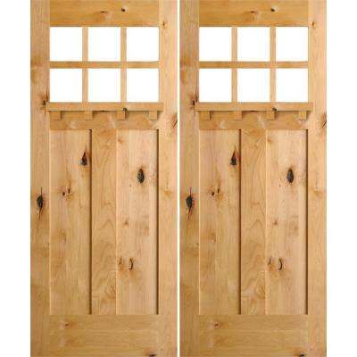 72 in. x 80 in. Craftsman Knotty Alder 6-Lite clear stain Wood/Dentil Shelf Left Active Double Prehung Front Door