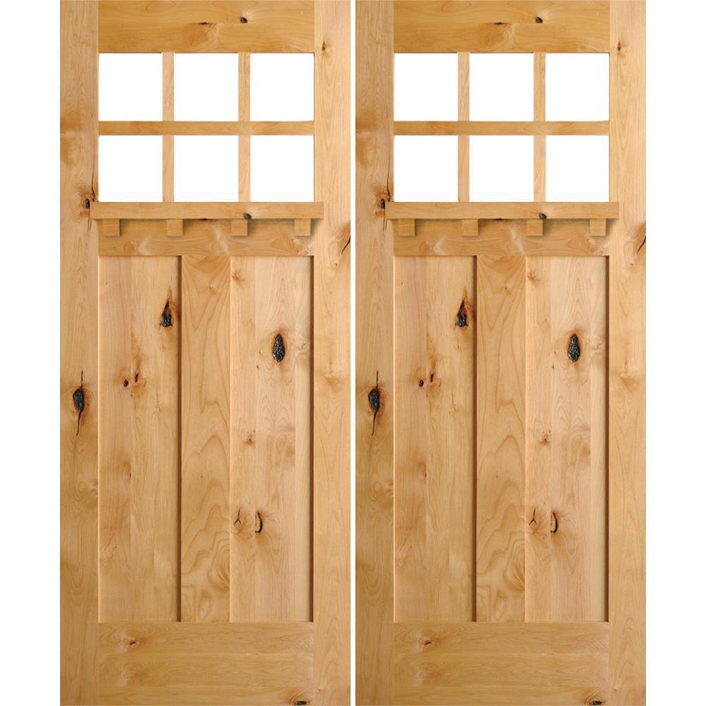 72 in. x 96 in. Craftsman Knotty Alder 6-Lite Clear Unfinished Wood/Dentil Shelf Left Active Double Prehung Front Door