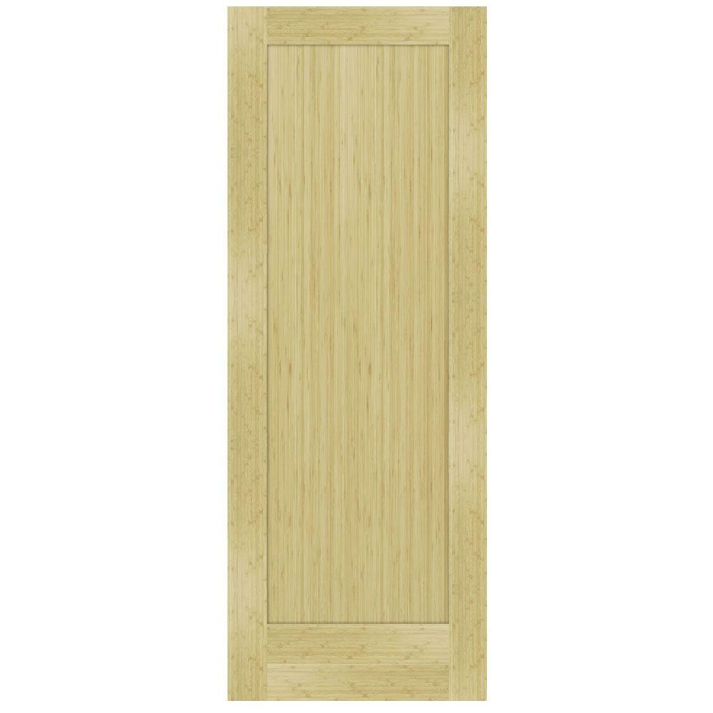 Steves & Sons 30 in. x 80 in. 1-Panel Shaker Solid Core Unfinished Bamboo Interior Door Slab