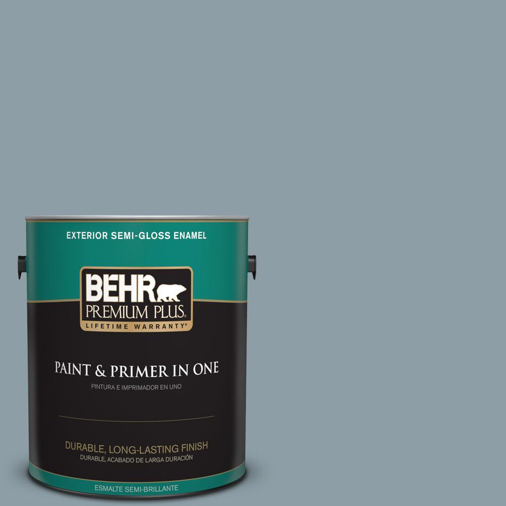 BEHR Premium Plus 1-gal. #540F-4 Shale Gray Semi-Gloss Enamel Exterior Paint