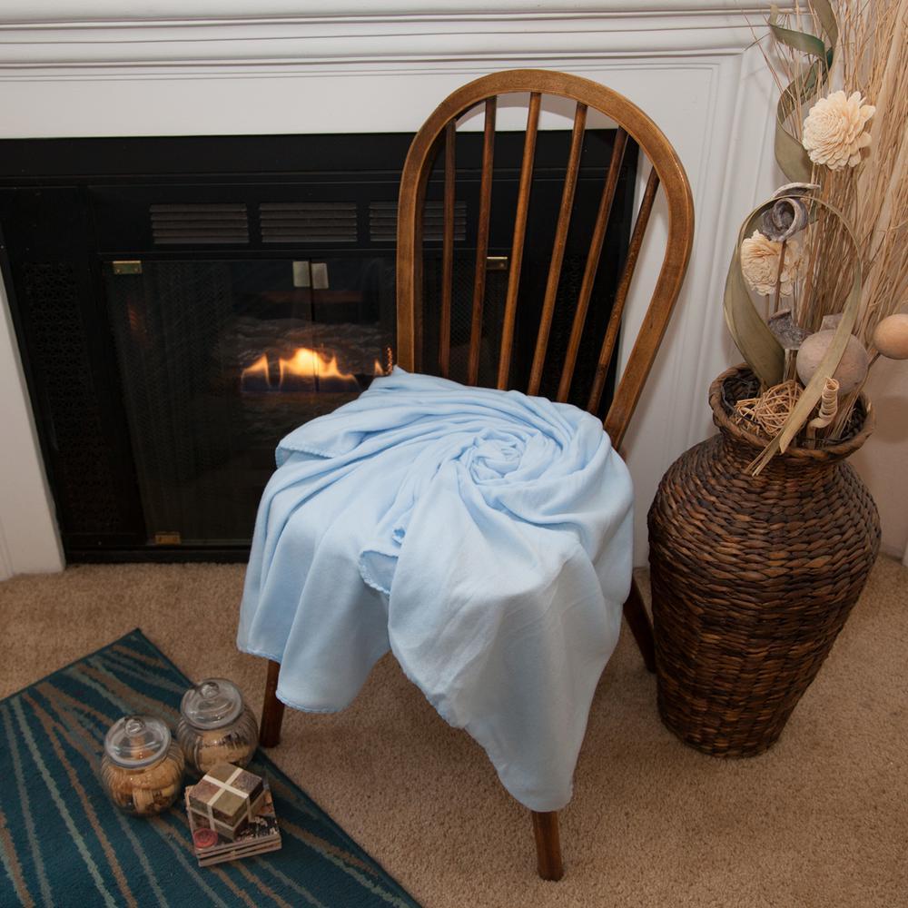 50 in. x 60 in. Light Blue Super Soft Fleece Throw Blanket (Set of 12)