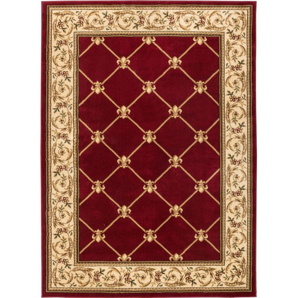 Well woven timeless fleur de lis red 7 ft x 9 ft traditional classical