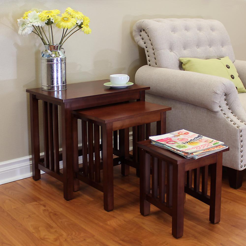 DonnieAnn Hollydale Chestnut 3-Piece Nesting End Table