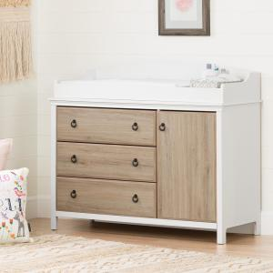 Catimini 3-Drawer Pure White and Rustic Oak Changing Table