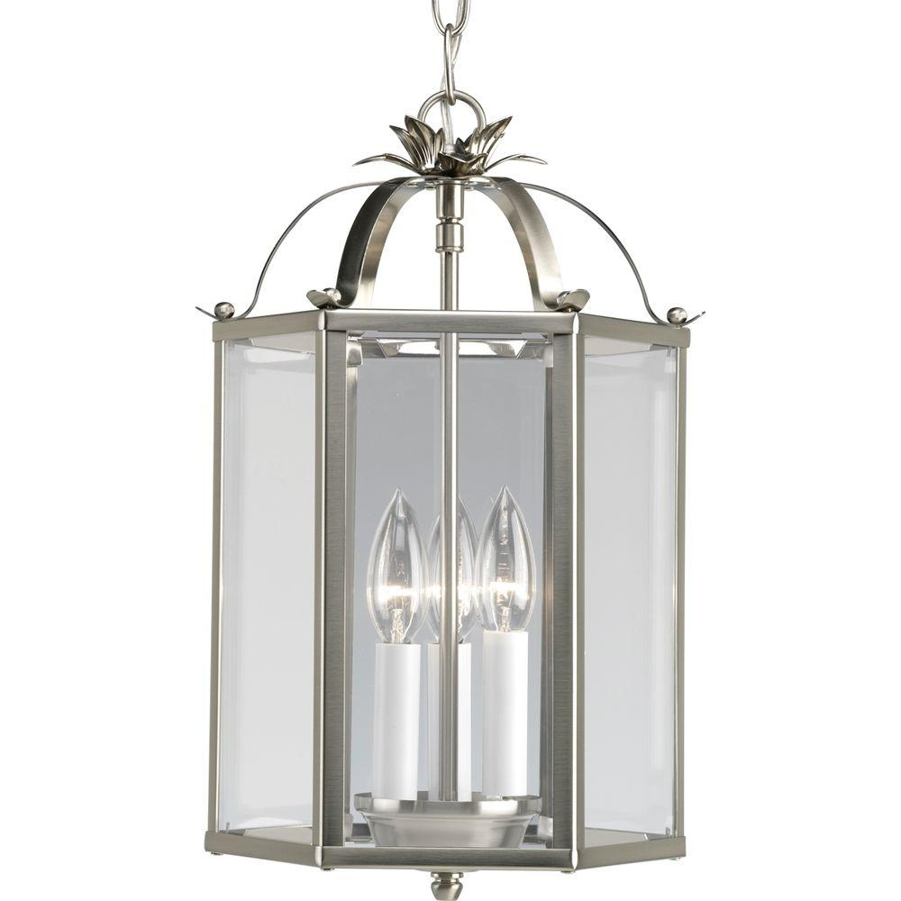 3 Light Semi Flush Mount Metal Brushed Nickel Foyer Pendant