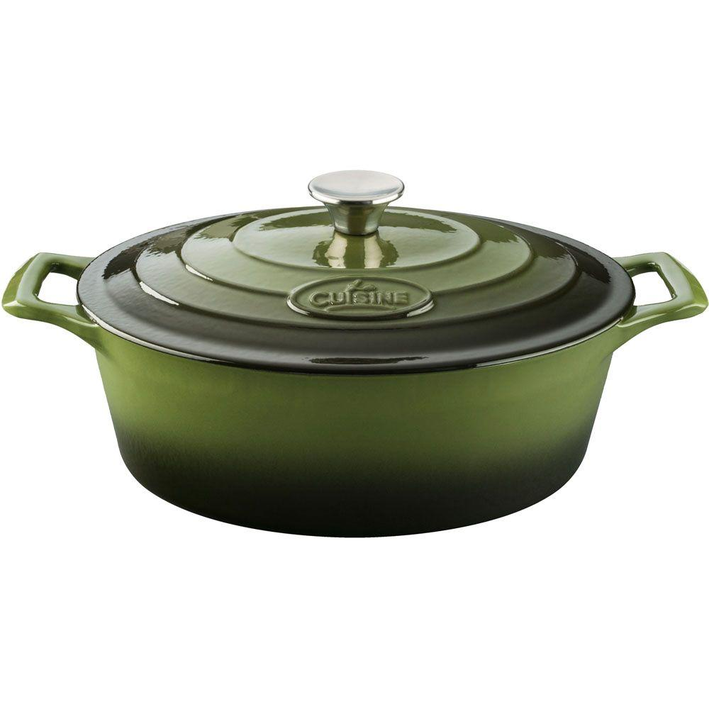 6.75 Qt. Cast Iron Oval Casserole with Green Enamel