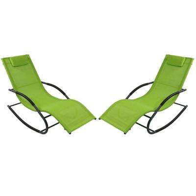 Green Rocking Wave Sling Outdoor Lounge Chair with Pillow (Set of 2)