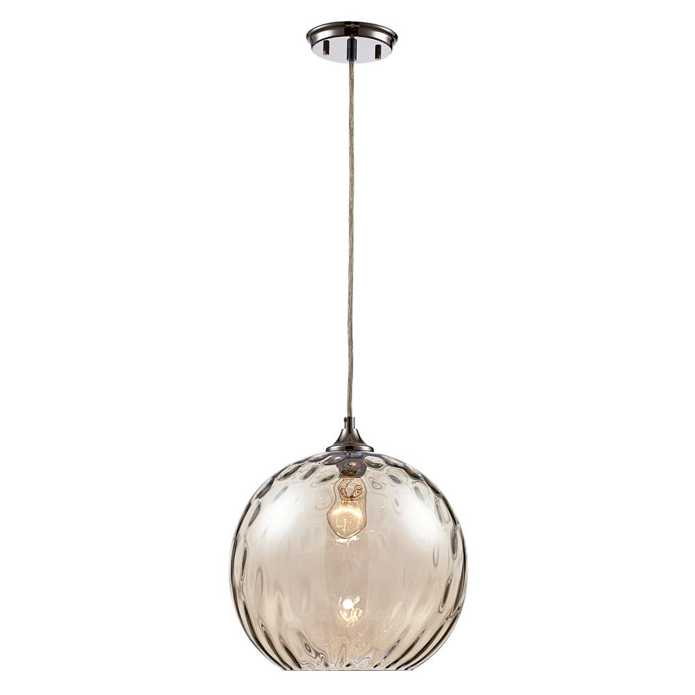 Bel Air Lighting Riverstone 1-Light Polished Chrome Pendant with Water Glass Shade