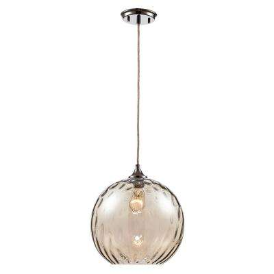Riverstone 1-Light Polished Chrome Pendant with Water Glass Shade