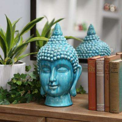 13.5 in. H Buddha Decorative Sculpture in Turquoise Gloss Finish