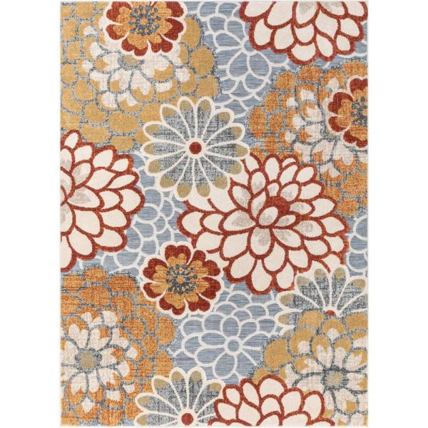Willowbrook Dahlia Modern Boho Floral Grey Multi 7 ft. 10 in. x 9 ft. 10 in. Flatweave High-Low Area Rug