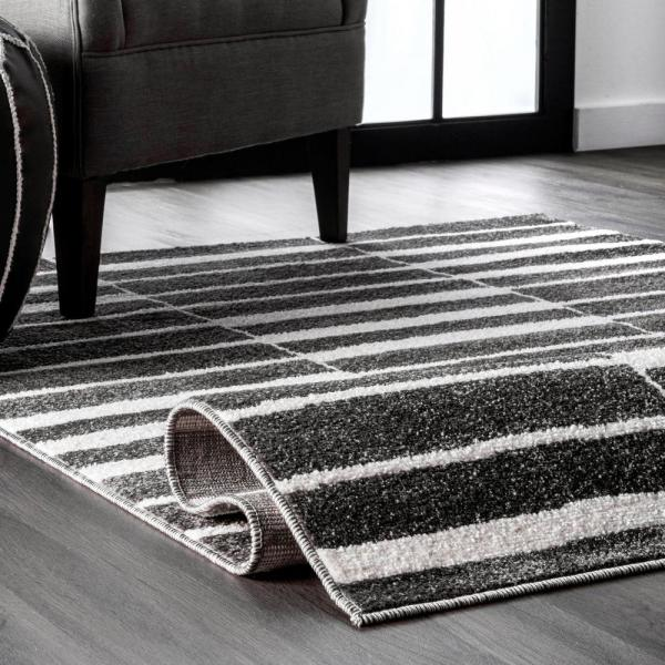 Nuloom Cora Abstract Stripes Black And White 5 Ft X 8 Ft Area Rug Psbo03a 508 The Home Depot