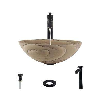 Stone Vessel Sink in Wood Sandstone with 726 Faucet and Pop-Up Drain in Antique Bronze