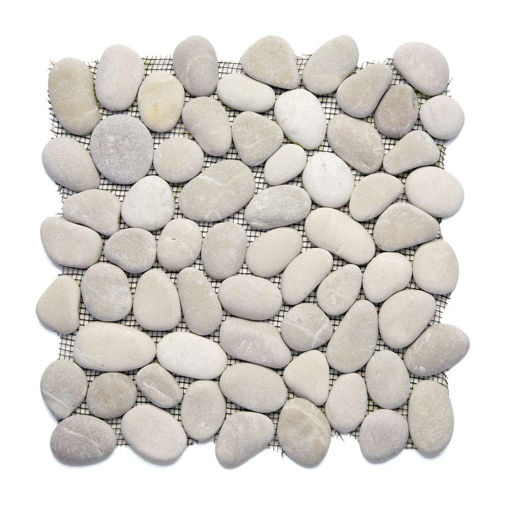 Solistone River Rock Brookstone 12 in. x 12 in. x 12.7 mm Natural Stone Pebble Mosaic Floor and Wall Tile (10 sq. ft. / case)