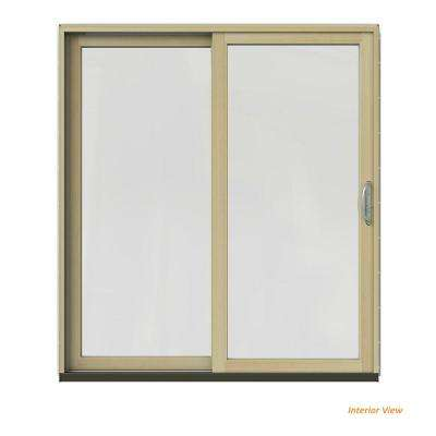 72 in. x 80 in. W-2500 Contemporary Black Clad Wood Left-Hand Full Lite Sliding Patio Door w/Unfinished Interior