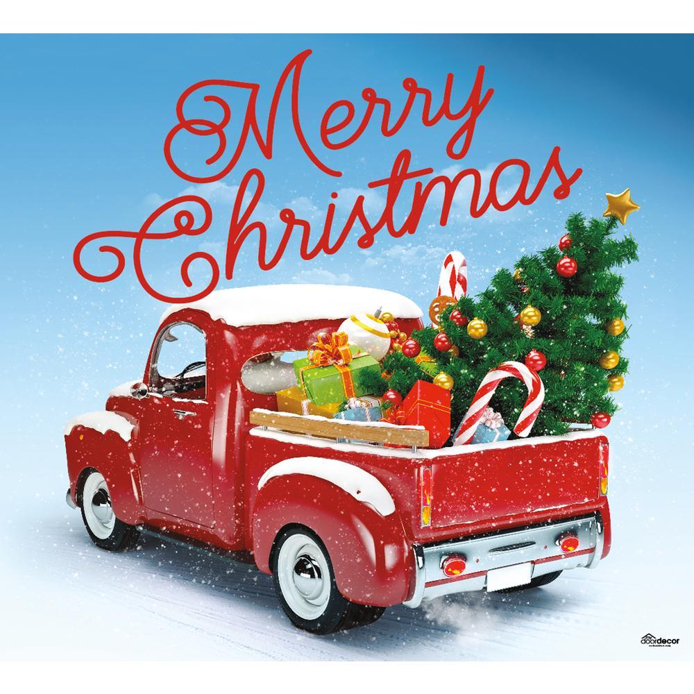 7 ft. x 8 ft. Red Truck Christmas-Christmas Garage Door Decor Mural for Single Car Garage