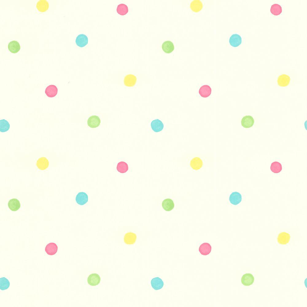 Brewster 56 sq. ft. Sprinkles White Polka Dots Wallpaper