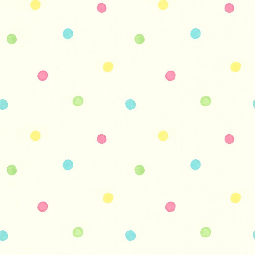 null 8 in. W x 10 in. H Sprinkles White Polka Dots Wallpaper Sample