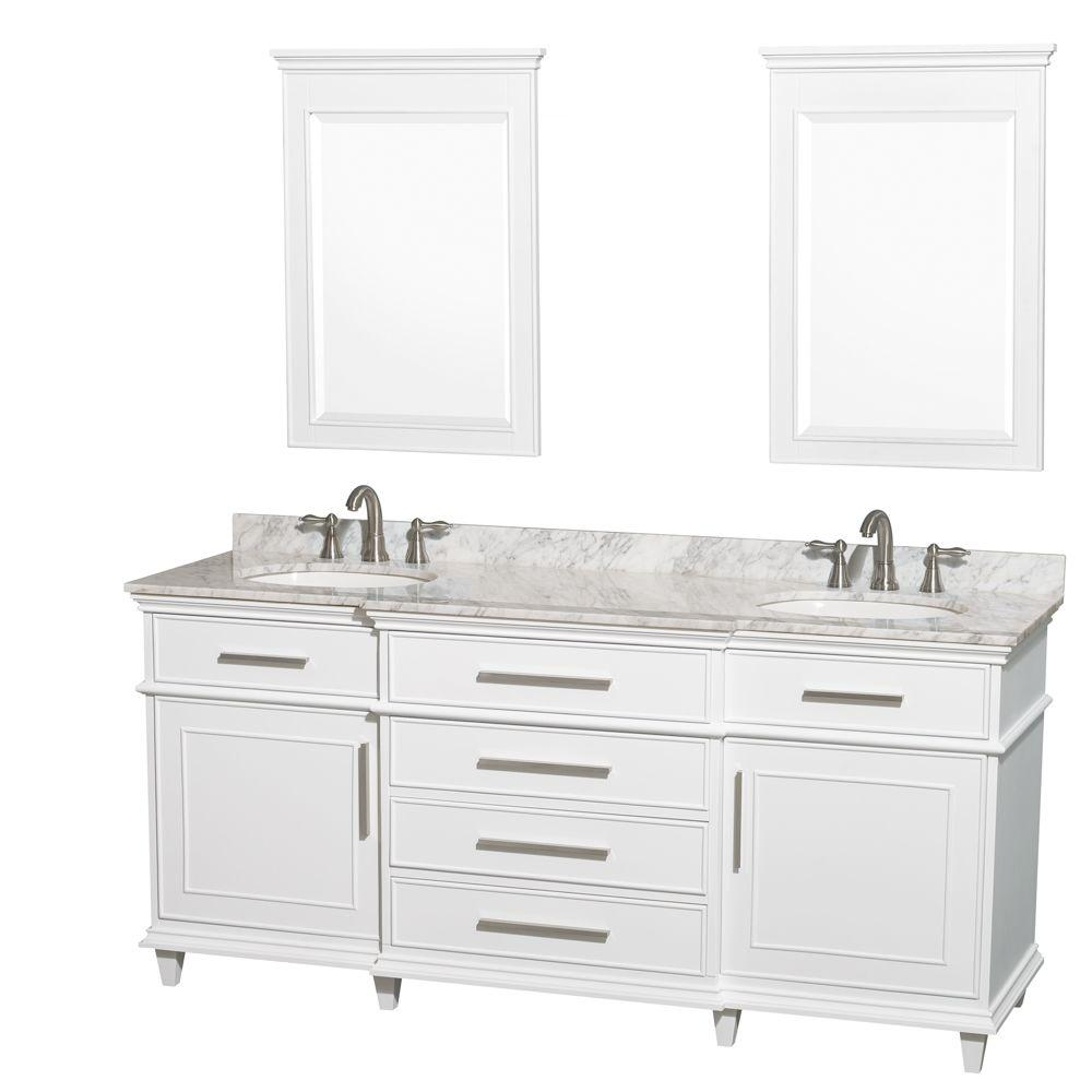 Berkeley 72 in. Double Vanity in White with Marble Vanity Top