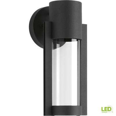 Z-1030 Collection 1-Light Black 12 in. Outdoor Integrated LED Wall Lantern