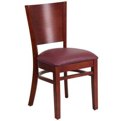 Lacey Series Solid Back Mahogany Wooden Restaurant Chair with Burgundy Vinyl Seat