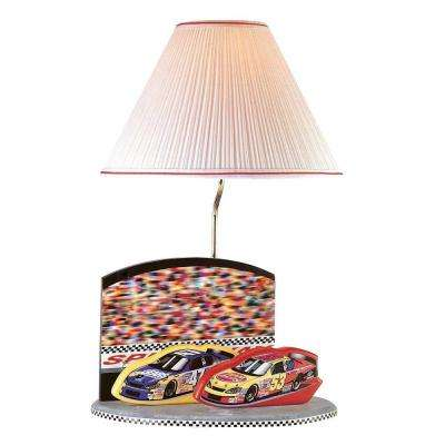 Designer Collection 21.5 in. Multi-Color Nascar Table Lamp with White Fabric Shade