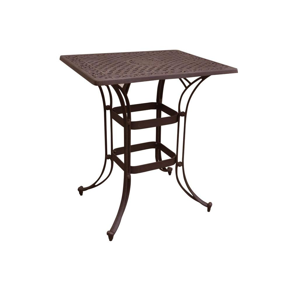 Home Styles Biscayne Bronze 36 in. x 30 in. Rectangular Patio Bistro Table