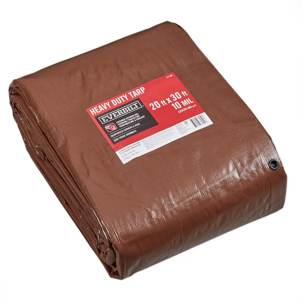 Everbilt 20 ft. x 30 ft. Brown/Silver Heavy Duty Tarp