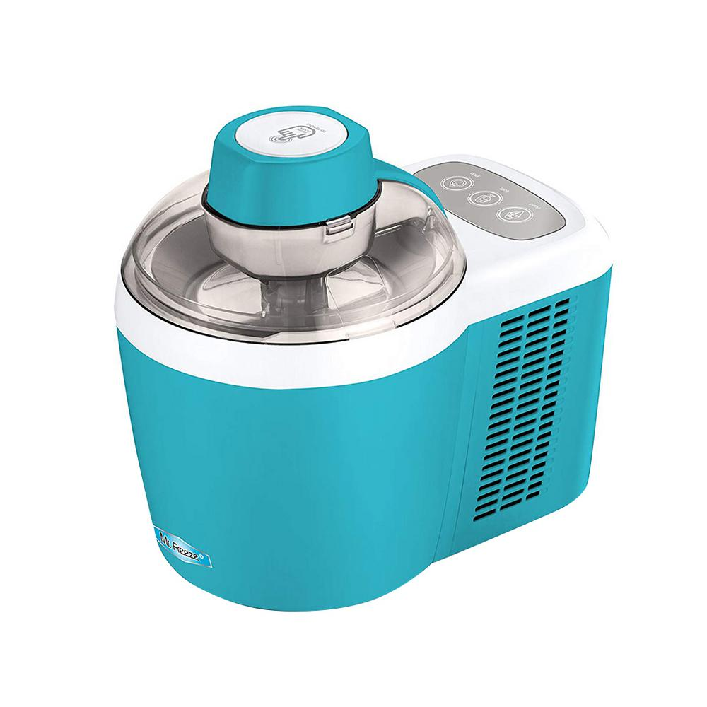 Elite Mr. Freeze Thermoelectric Ice Cream and Gelato Maker in Turqoise, Turquoise With the Mr. Freeze 1.5 Qt. (1.5 pt.) Ice Cream Maker you can make your own great tasting frozen treats in less than 60 minutes - no pre-freezing required. Have fun with the whole family crafting homemade ice cream, gelato, frozen yogurt, sherbet, or sorbets right out of the box. This ice cream maker also has a unique feature that allows you to adjust the softness or hardness of your ice cream, so you can make it to your desired preference. Smart design makes use of operation a cinch. All you have to do is mix in your ingredients, push a button, and the thermoelectric cooling system does the rest. Gone are the messy days of hand cranking, churning ice and spilled salt. Recipes are included for fun and easy ideas to treat the whole family. Color: Turquoise.