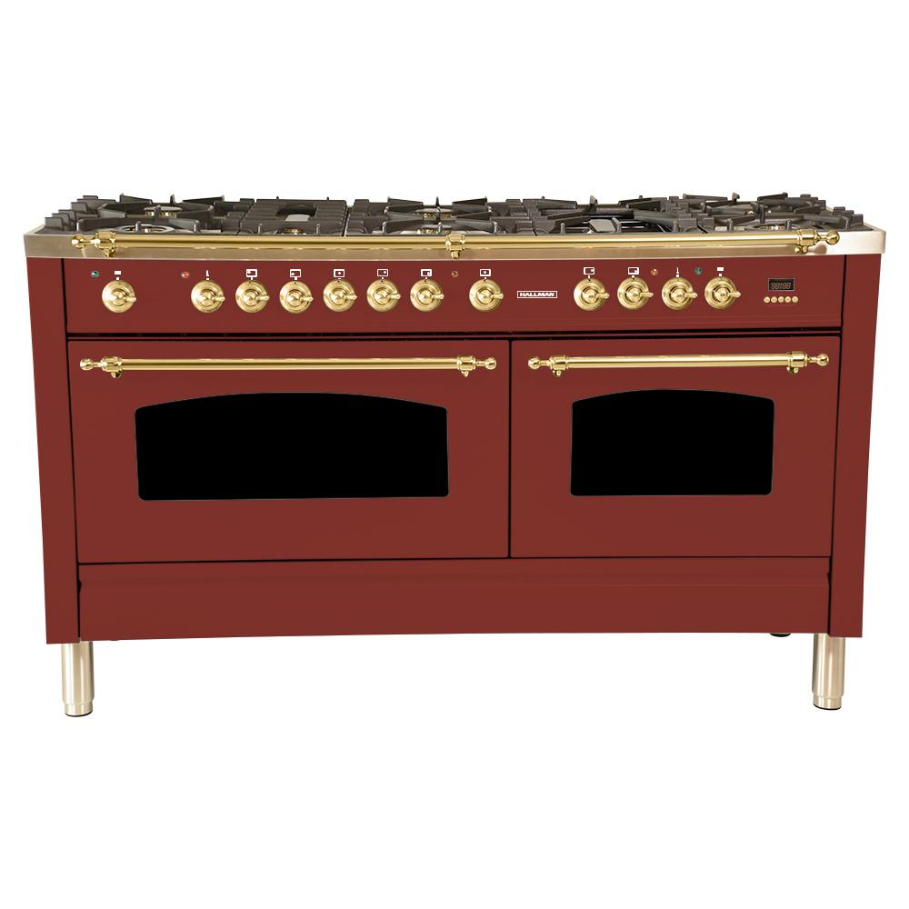 Hallman 60 in. 6 cu. ft. Double Oven Dual Fuel Italian Range with True Convection, 8 Burners, Griddle, Brass Trim in Burgundy