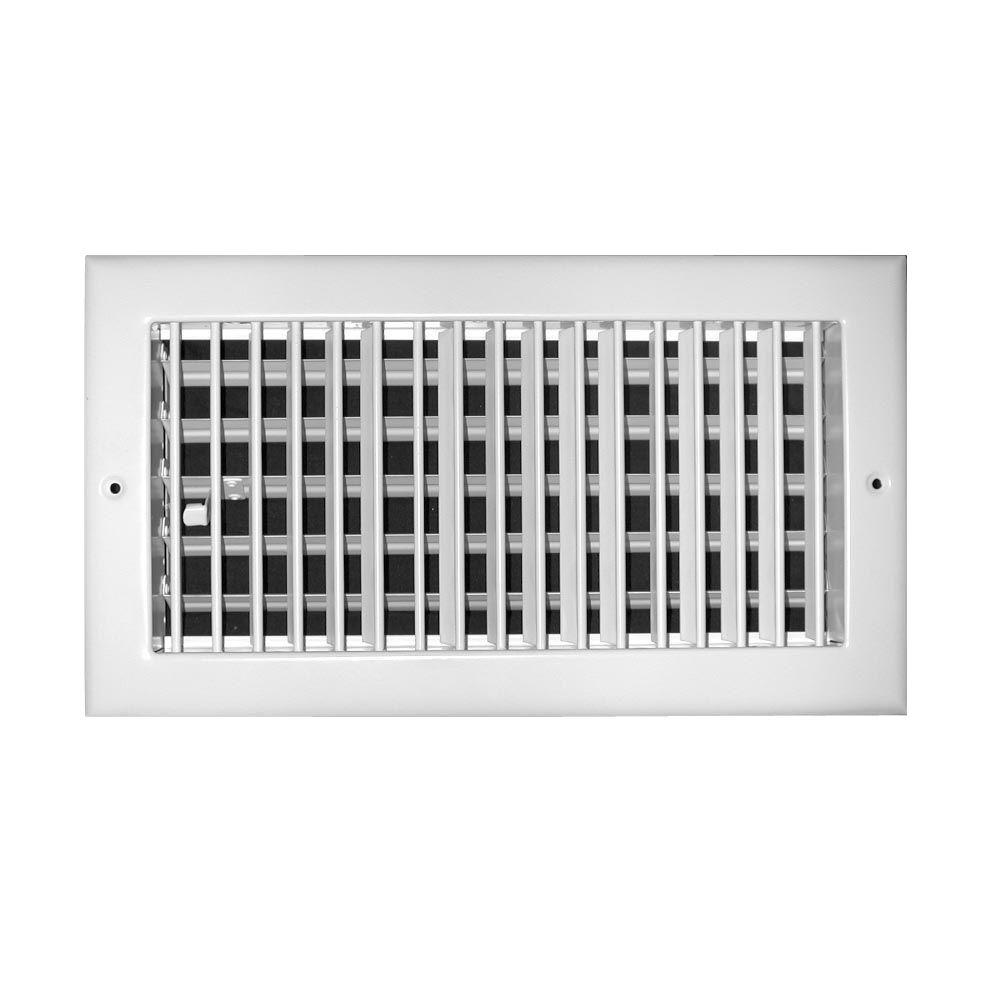TruAire 10 in. x 6 in. Aluminum 1 Way Adjustable Wall/Ceiling Register, White