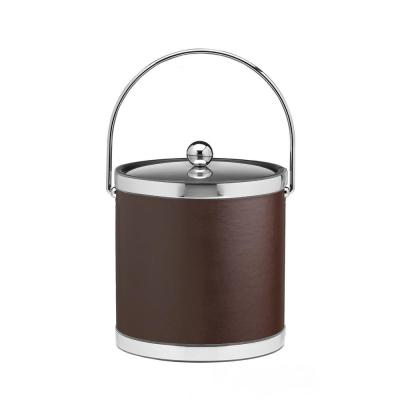 Sophisticates 3 Qt. Brown and Polished Chrome Ice Bucket with Bale Handle, Metal Lid (Case of 6)