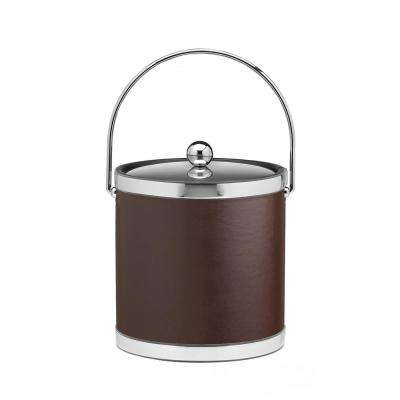 Sophisticates 3 Qt. Brown and Polished Chrome Ice Bucket with Bale Handle and Metal Cover