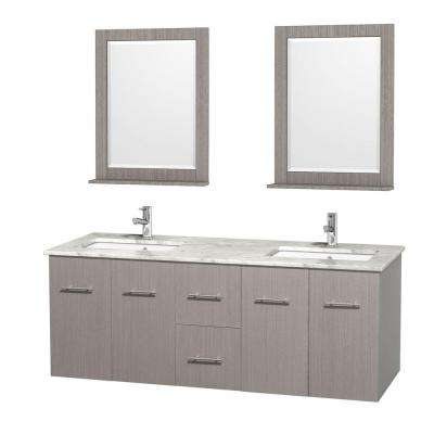 Centra 60 in. Double Vanity in Gray Oak with Marble Vanity Top in Carrara White, Square Sink and 24 in. Mirror