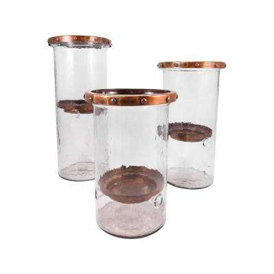 Cimarron 18 in., 16 in. and 13 in. Burned Copper Candle Holders (Set of 3)