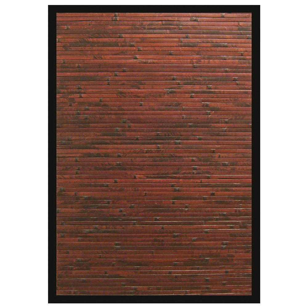 Solid Bamboo Area Rug Mahogany Machine Woven Kiln-dried