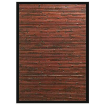 Cobblestone Mahogany Brown with Black Border 2 ft. x 3 ft. Area Rug