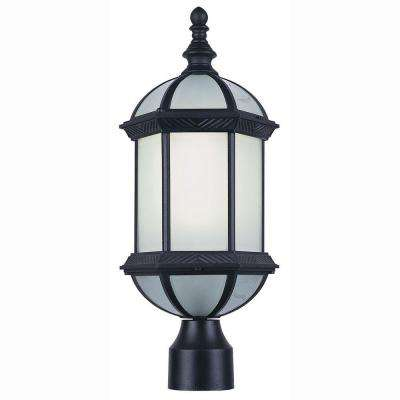 Energy Saving 1-Light Outdoor Black Post Top Lantern with Frosted Glass