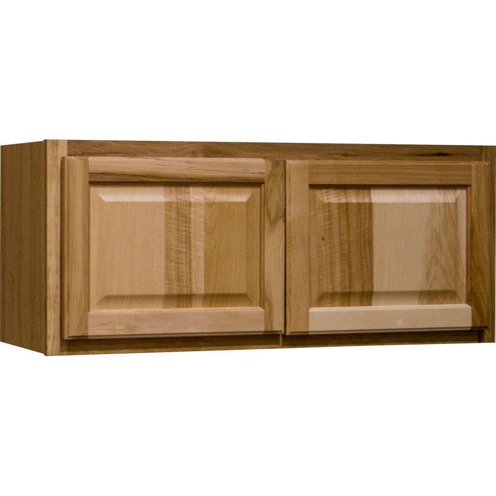Hampton Bay Hampton Assembled 36x12x12 in. Wall Bridge Kitchen Cabinet in Natural Hickory