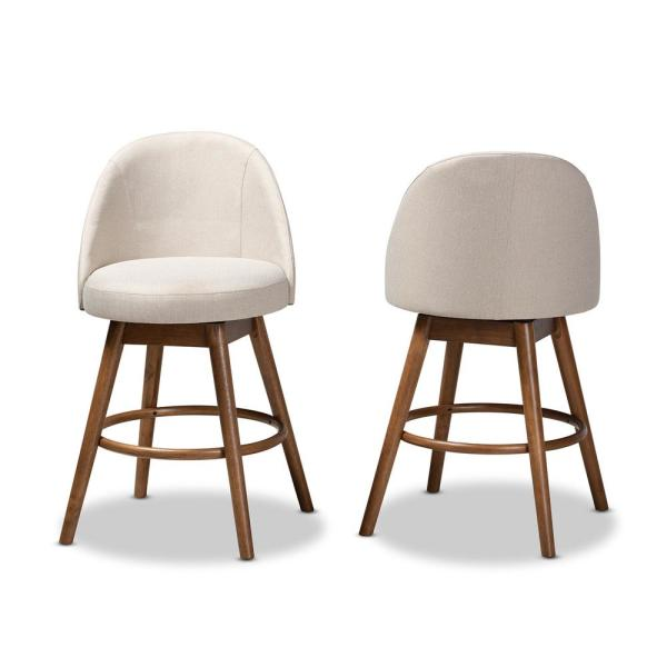 Baxton Studio Carra 38 in. Beige Counter Stool (Set of 2)