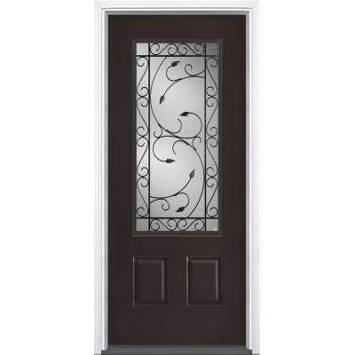 36 in. x 80 in. Pergola Willow Wood 3/4 Lite Right-Hand Painted Smooth Fiberglass Prehung Front Door with Brickmold