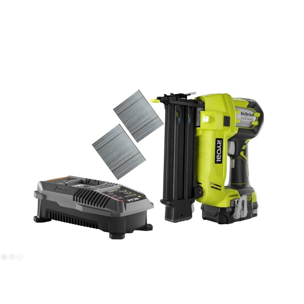 Ryobi 18-Volt ONE+ Cordless AirStrike 18-Gauge Brad Nailer Kit with 1.3 Ah Battery and 18-Volt Charger