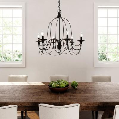 Pannier 6-Light Oil-Rubbed Bronze with Silver Highlights Chandelier