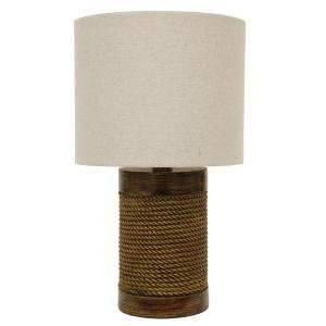 Cali Rope 15 in. Brown Table Lamp with Linen Shade