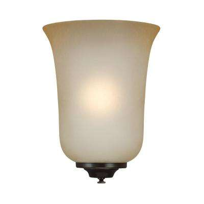 Browntan colored glass up down lighting sconces lighting ada wall sconces 1 light heirloom bronze bath light with led bulb aloadofball Gallery