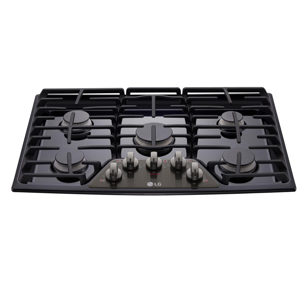 5 Burner Gas Cooktops: LG Electronics 30 In. Gas Cooktop In Black Stainless Steel